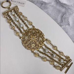 White House Black Market gold bead chain toggle